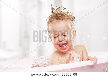 Happy Funny  Baby  Laughing And Bathed In Bath