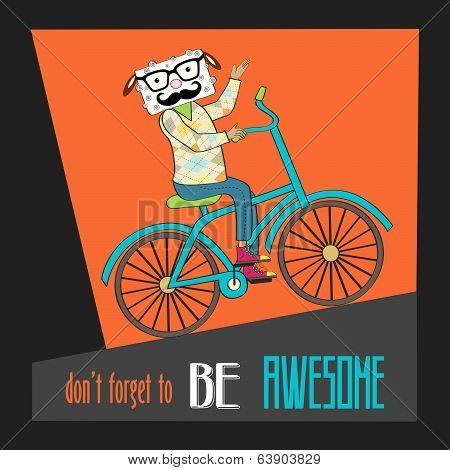 Hipster Poster With Nerd Sheep Riding Bike