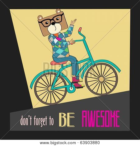 Hipster Poster With Nerd Bear Riding Bike