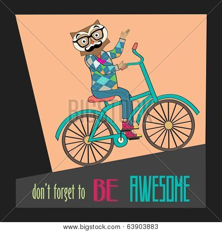 Hipster Poster With Nerd Owl Riding Bike