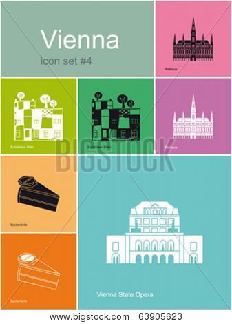 Landmarks of Vienna. Set of flat color icons in Metro style. Editable vector illustration.