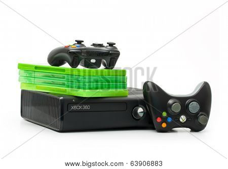 SAINT-PETERSBURG, RUSSIA - March 01, 2014: Photo of Xbox 360.The Xbox 360 is a video game console developed by Microsoft.
