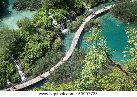 Tourists in Plitvice Lakes National Park