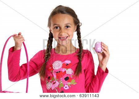 Young Girl Holding Her Easter Basket Missing Front Two Teeth