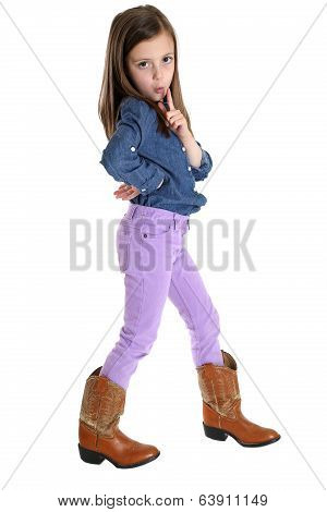 Girl Pretending To Blow The Smoke Off Her Pretend Pistol