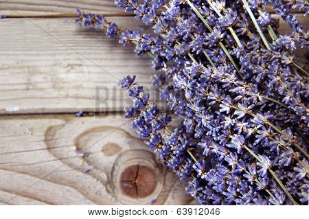 Lavender Flowers On The Wooden Background