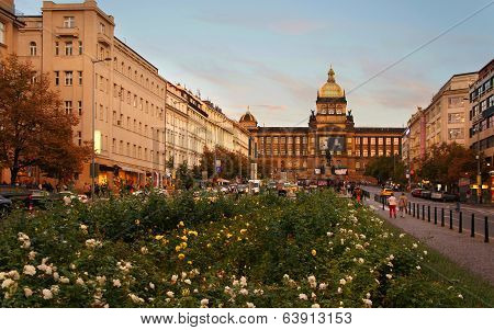 Wenceslas Square by evening, Prague