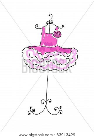 Magnificent Pink Dress With Flounces On A Hanger