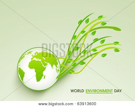World Environment Day concept with beautiful mother earth globe and green leaves on abstract background.