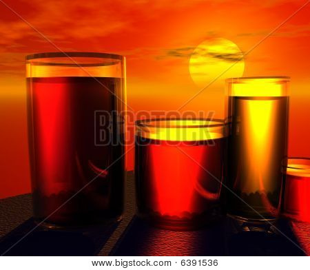 Juice Glasses with Sunset
