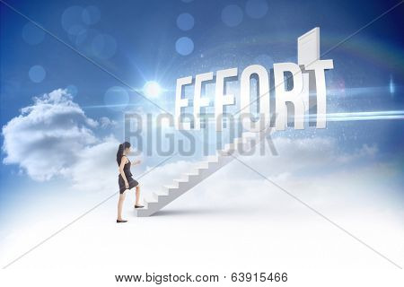 The word effort and businesswoman stepping up steps leading to closed door in the sky