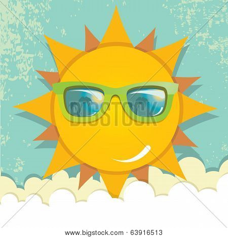 summer sky with sun with sunglasses