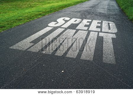 Speed Limit Message Reminder On Asphalt Road