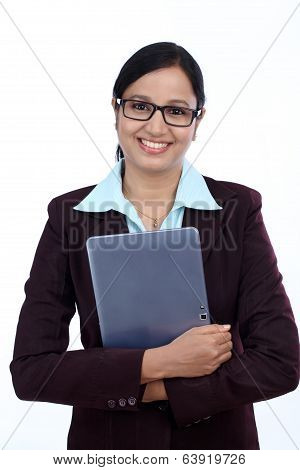 Happy Young Business Woman With Tablet