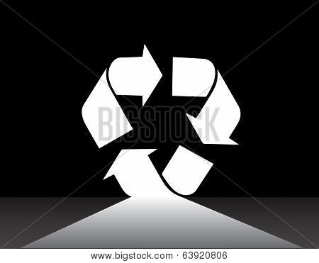The Future White Recycle Arrow Symbol Pathway With Dark Black Background