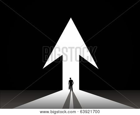 Businessman silhouette stand front of big up growth arrow door