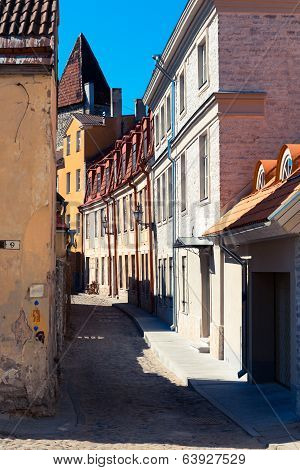 Narrow Street In The Center Of An Old Town