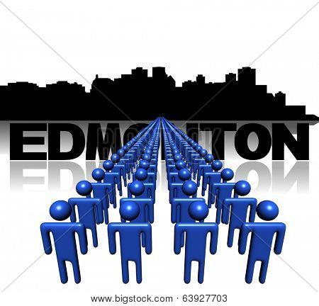 Lines of people with Edmonton skyline illustration