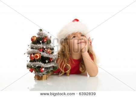 Little Girl Dreaming Of A White Christmas