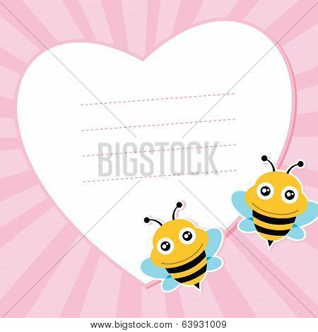 Two flying bees and heart shape.
