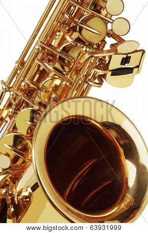 Close Up Of Saxophone On White Background