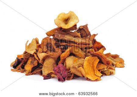 a pile of different vegetable chips, such as parsnips, sweet potatoes and carrots, on a white background