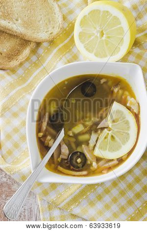 Soup, Lemon And Toasts