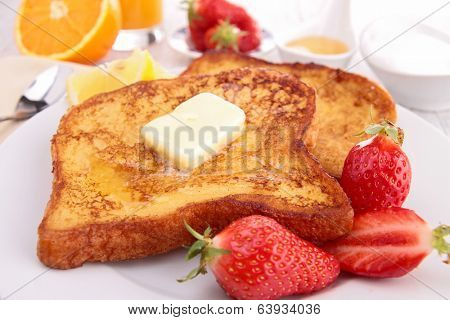 brioche with butter and strawberry