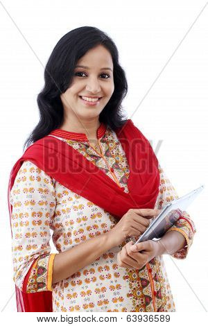 Happy Young Woman With Tablet Against White