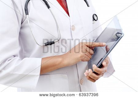 Closeup View Of Doctor Using Tablet Computer