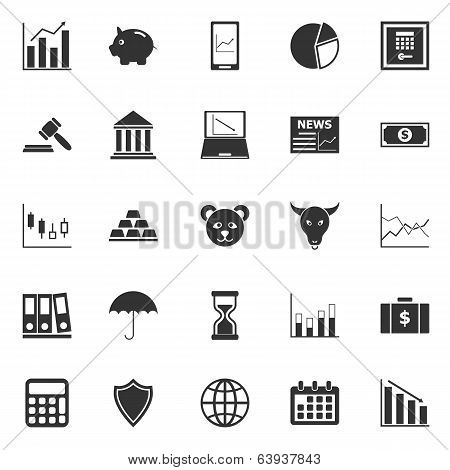Stock Market Icons On White Background