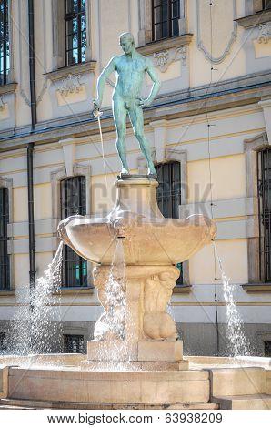 Fencer Fountain in Wroclaw, Poland