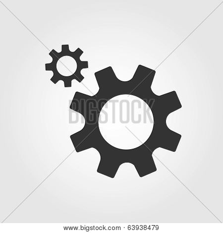 Gear icon, flat design