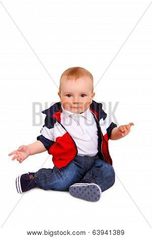 Little Boy Sitting Isolated On  White Background
