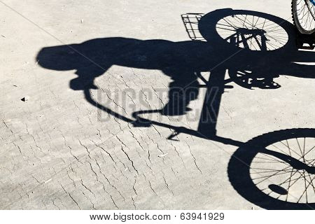 Shadow Of Bicyclist On Road