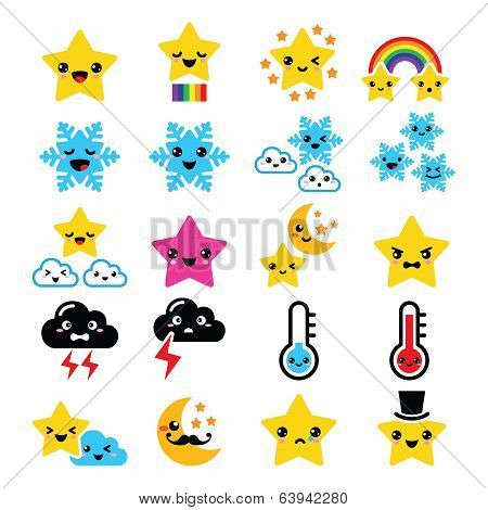 Cute weather kawaii icons -star, rainbow, moon, snowflake, thunders and cloud