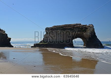 The bridge on the beach.