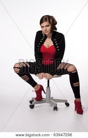Young Woman In Red Shirt, Modern Jacket, Leggings With Holes, Red High Heels, With Exceptional Hairs