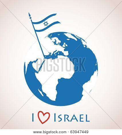 Globe icon with Israel flag
