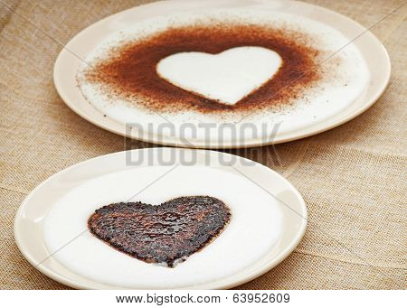 Sweet Cocoa Hearts In Semolina Pudding
