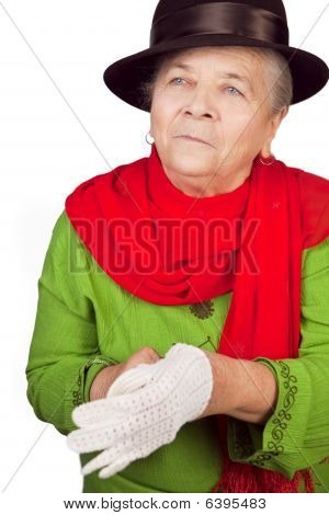 Elegant Senior Old Lady And White Glove