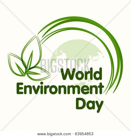World Environment Day concept with beautiful green leaves on world map background, can be use as flyer, banner or poster.