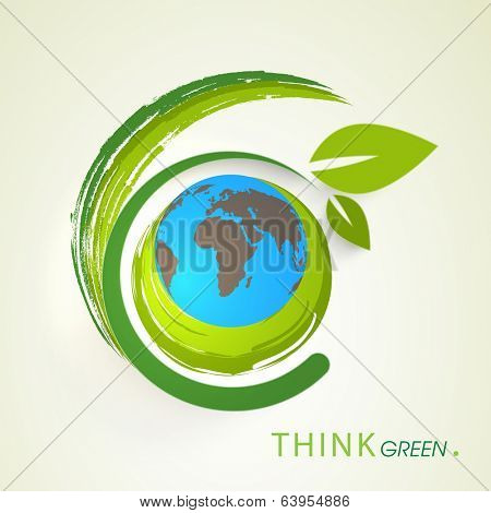 World Environment Day concept with world earth globe and beautiful green leaves on abstract background.