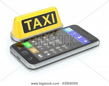 Taxi sign and mobile