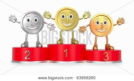 Cartoon Medals On Red Podium (front View)