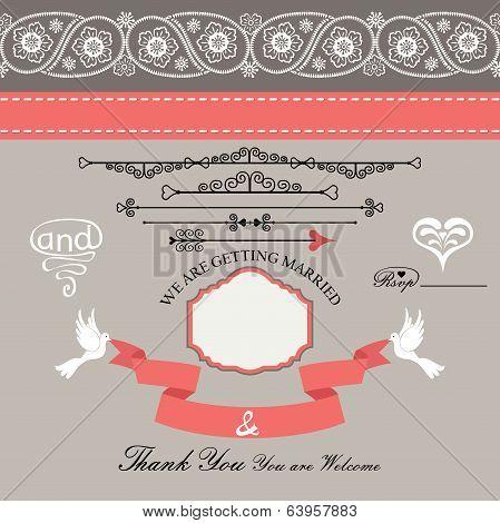 Wedding Design  Template With Paisley Border,cartoon,hearts