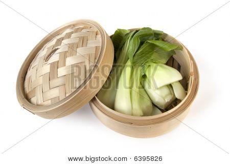 Bok Choi In Bamboo Steamer