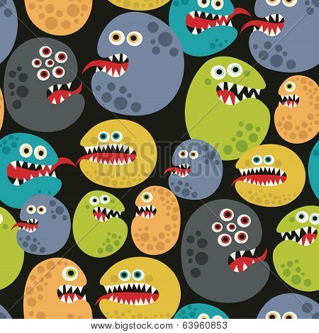Seamless pattern with colorful virus monsters.