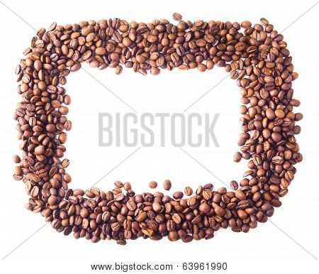 Square frame from coffee beans
