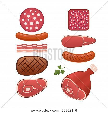 Set of different kind of sausages and meats